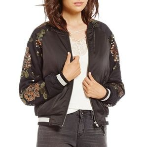 Jessica Simpson Tabby Floral Lace Bomber Jacket